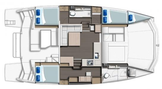 Leopard 43 PC 3 Cabins and Saloon